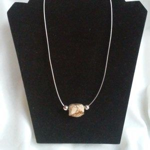 Pictur Jasper Stone on Sterling Silver Necklace